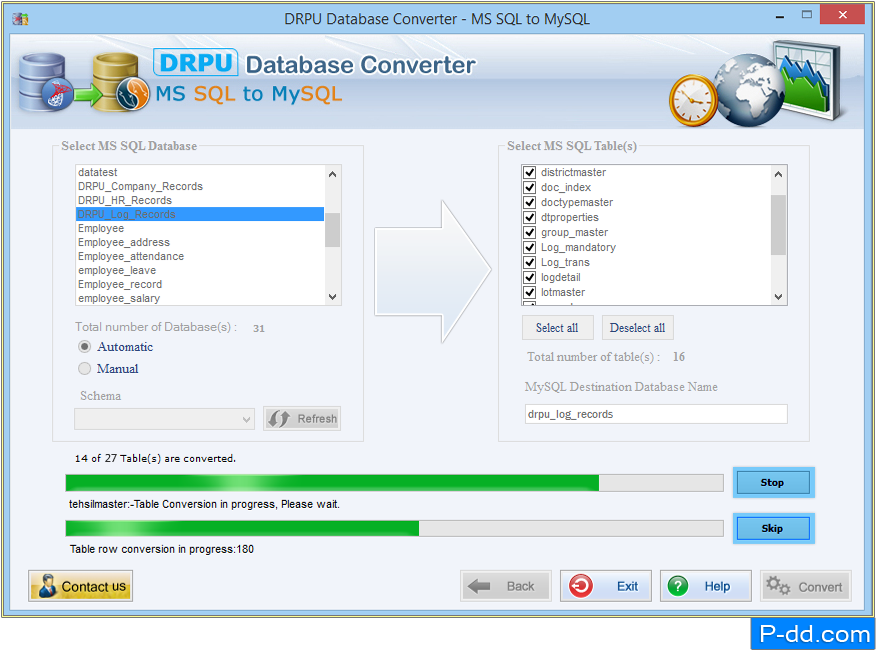 MS SQL para MySQL Database Converter