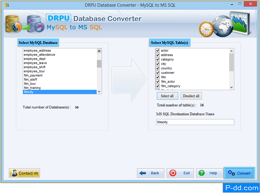 MySQL à MS SQL Database Converter