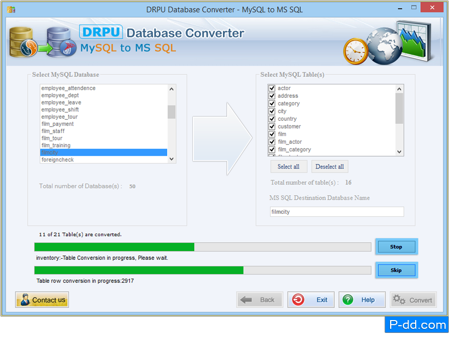 MySQL naar MS SQL-database Converter Software