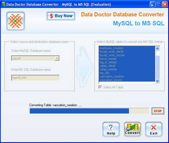 Windows 7 MySQL DB to MSSQL Migration Tool 2.0.1.5 full